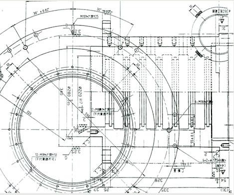 大型精密機器加工画像|チタンバルブ製図